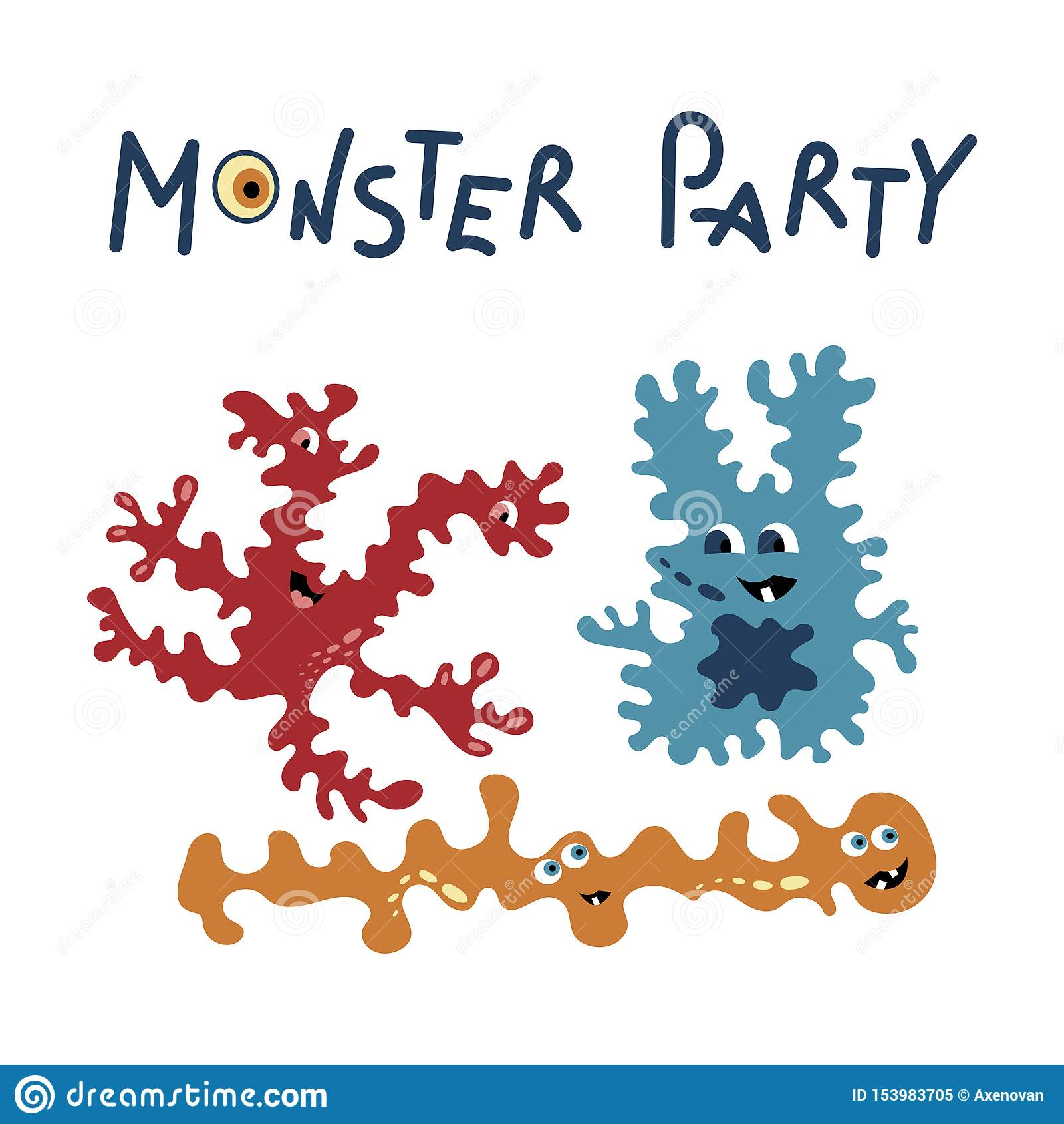 Monster party card design. Vector