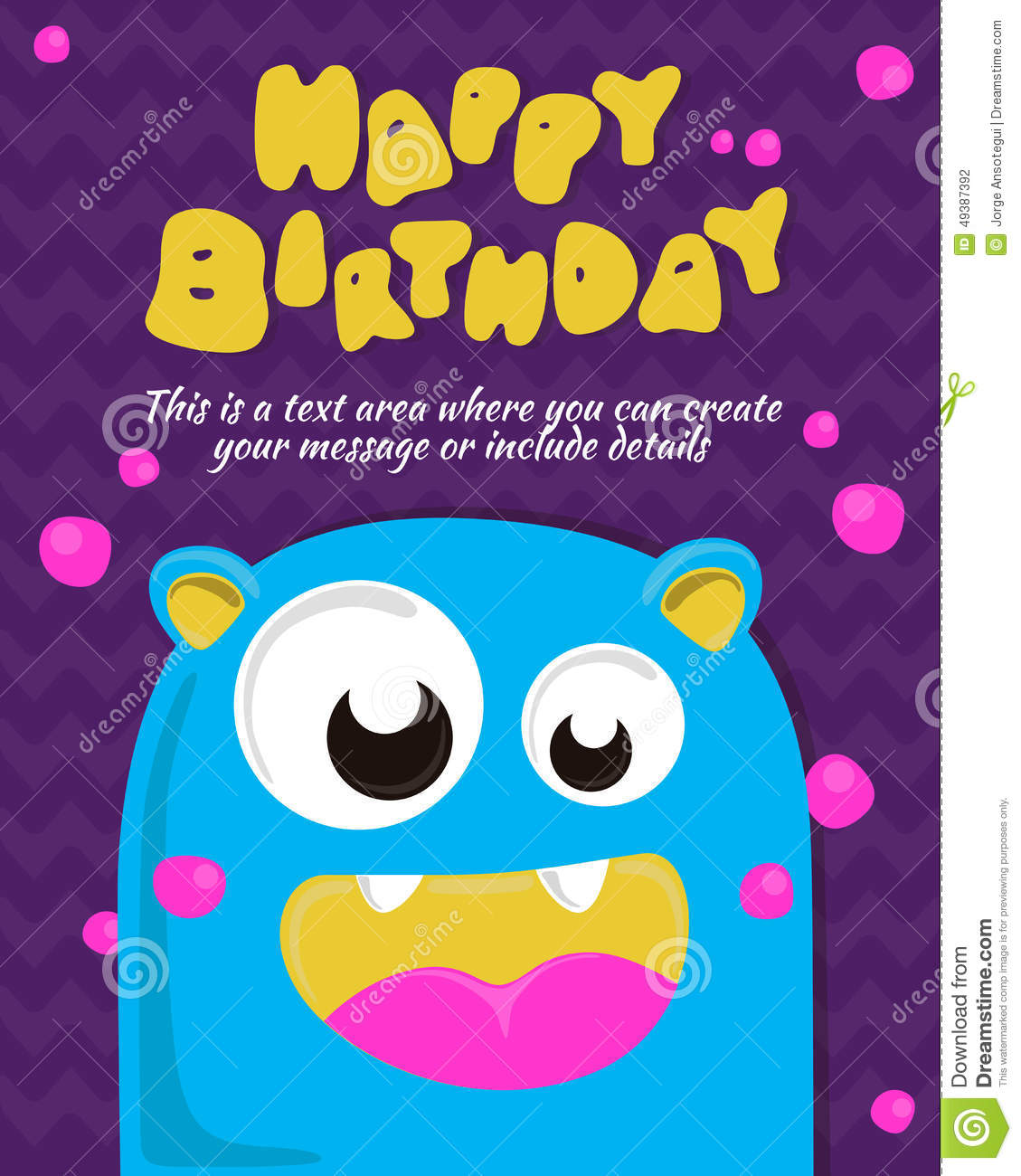 Monster Party Card Invitation Design. Happy Birthday