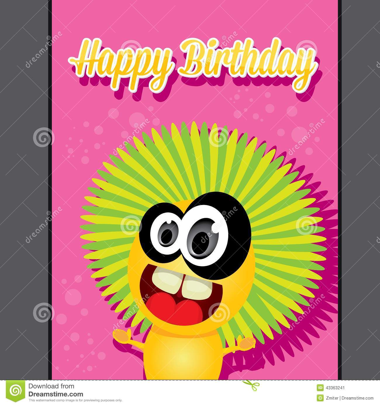 Monster Party Happy Birthday Card Design Template Stock Vector ...