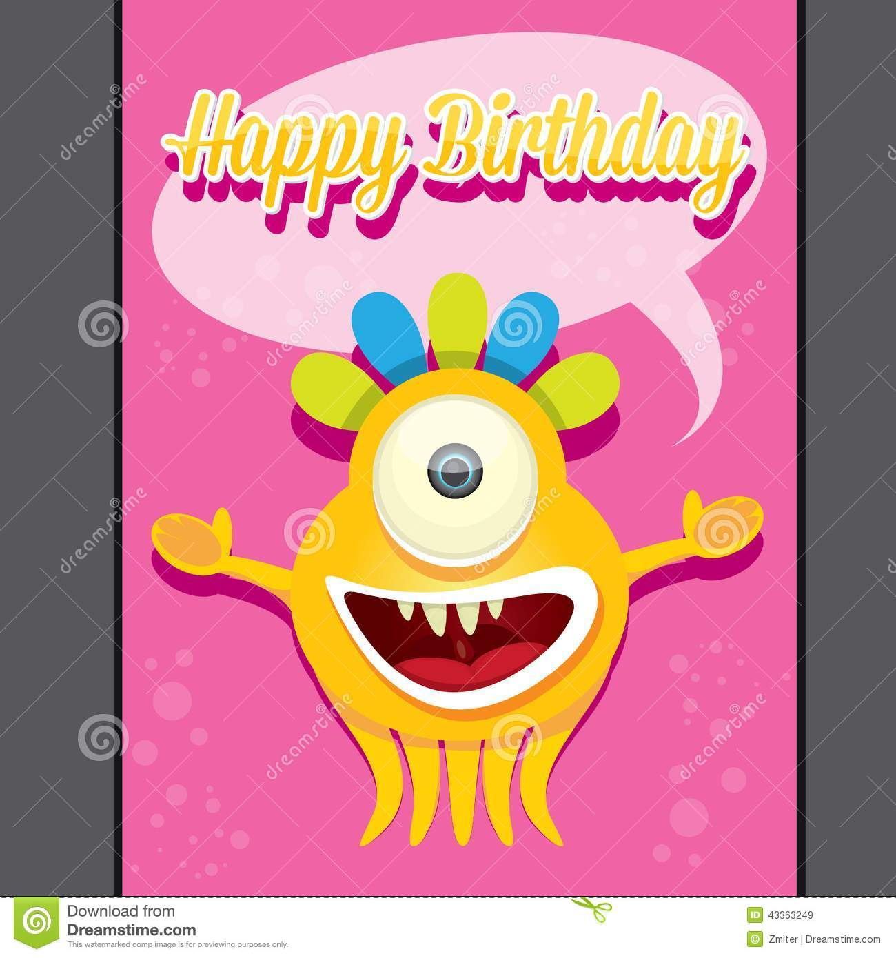 Monster Party Happy Birthday Card Design Template Stock