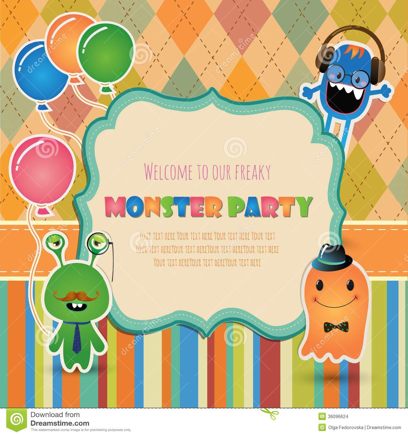 Monster Party Invitation Card Design Stock Vector