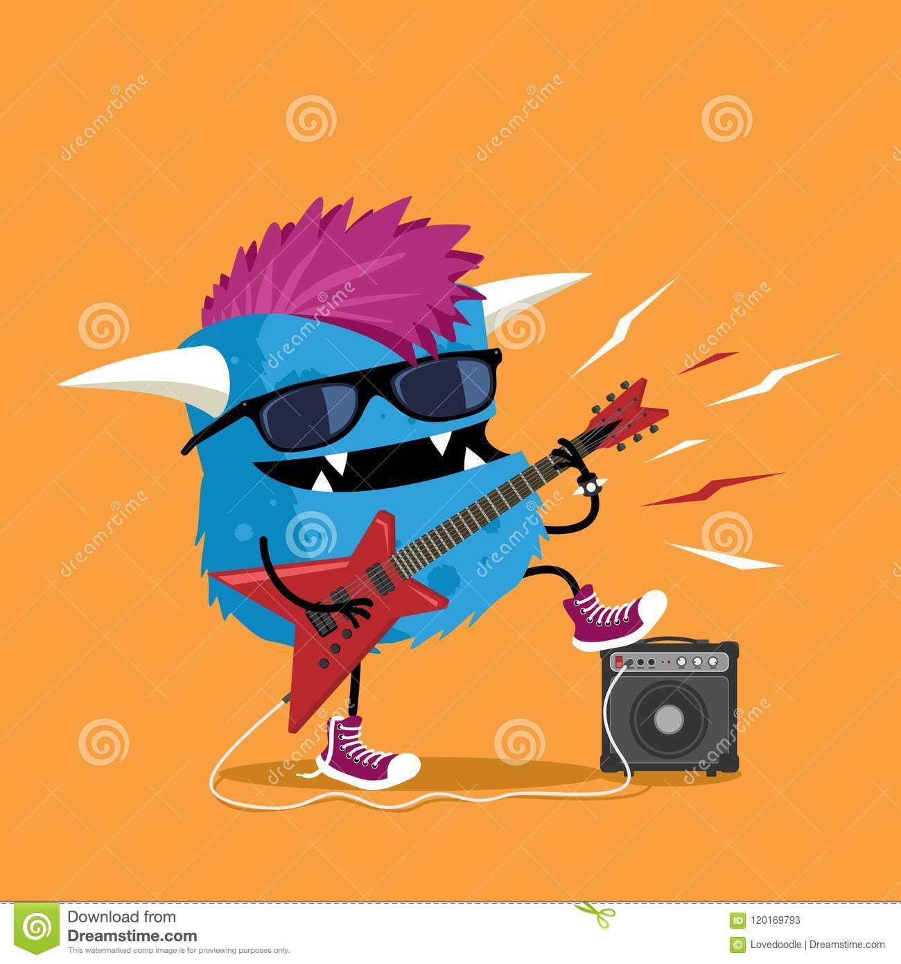 Monster Punk Rocker With Mohawk Haircut Playing Red Electric Guitar