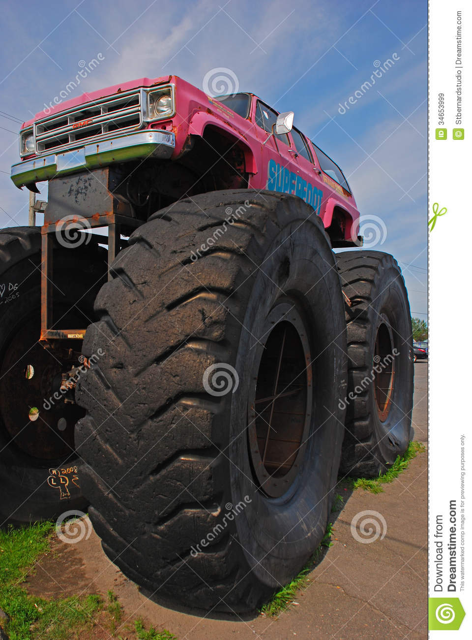 monster truck car bigfoot with giant front wheel editorial stock image image 34653999. Black Bedroom Furniture Sets. Home Design Ideas