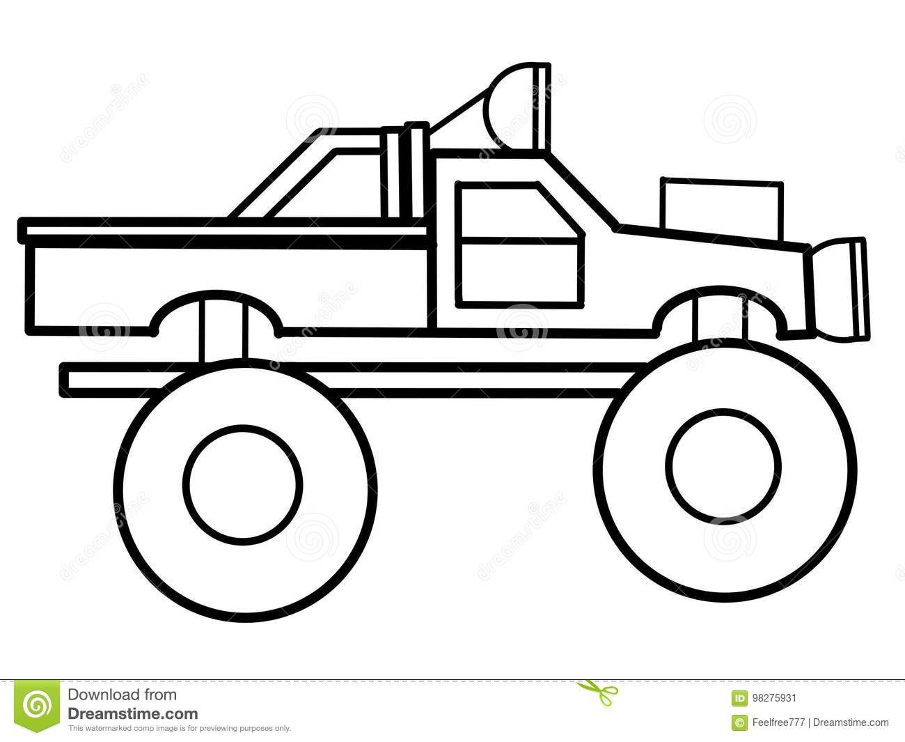Monster Truck Educational Coloring Pages Stock Illustration Illustration Of Antent Education 98275931