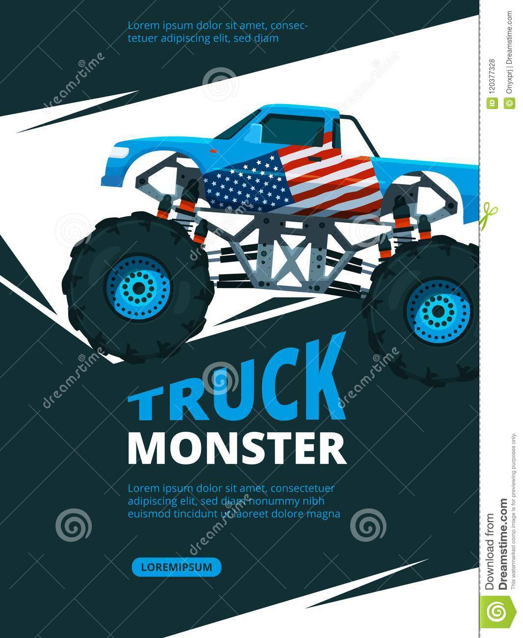 Monster truck poster design template retro stock vector (royalty.