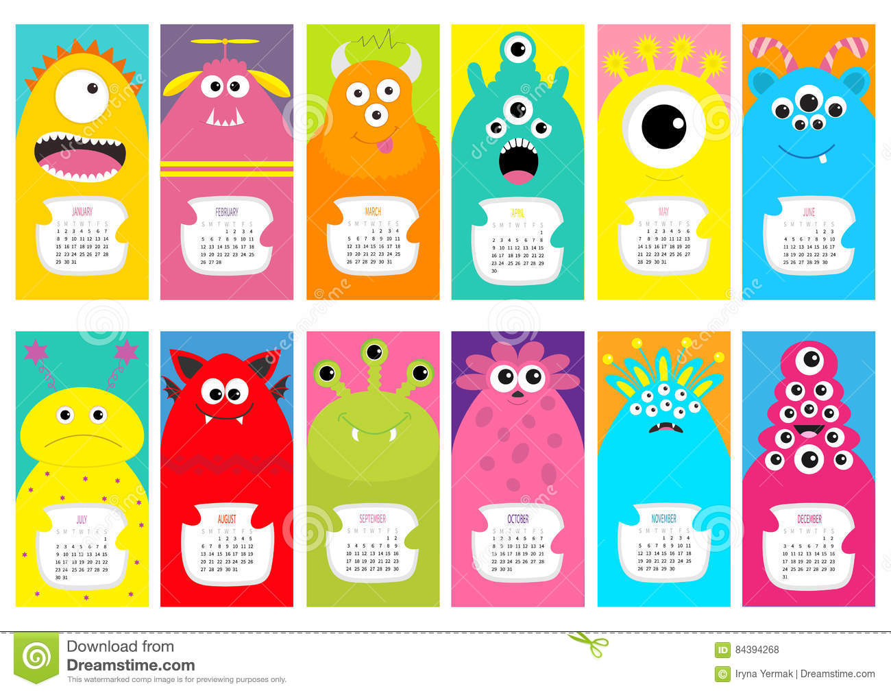 Calendar Month Illustration : Monster vertical monthly calendar cute funny cartoon