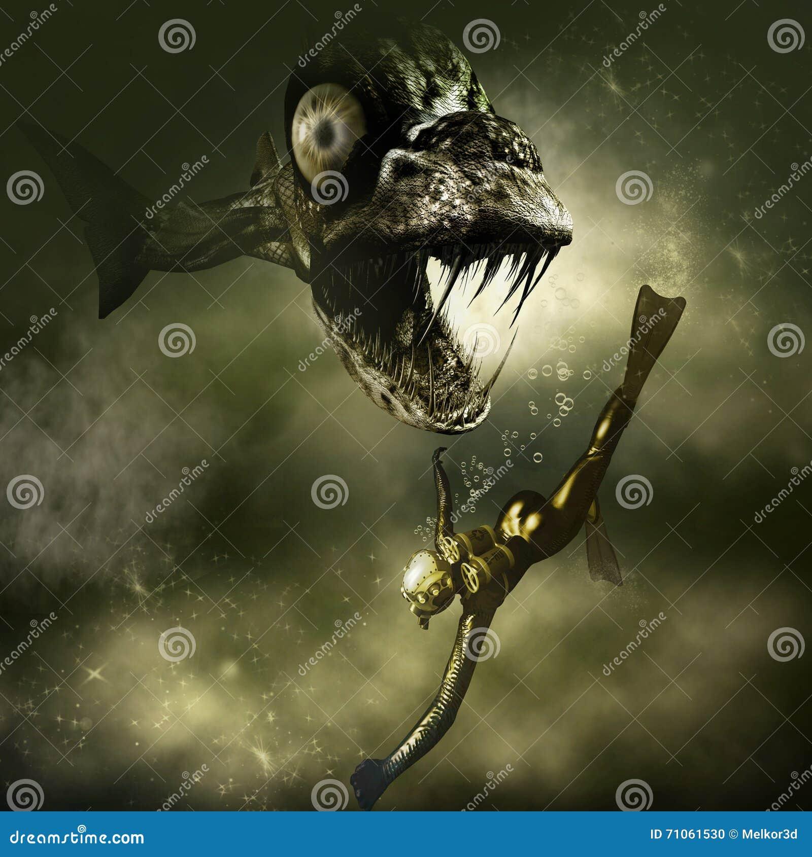 Monsterpiranha en een duiker