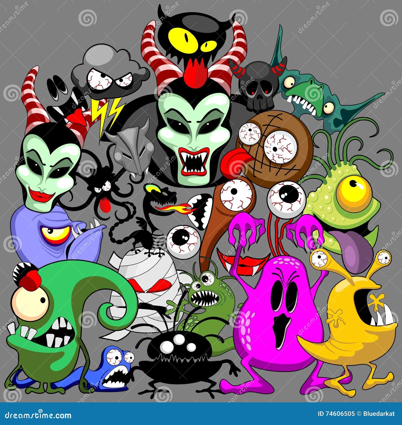 Monsters Doodles Spooky Halloween Characters Stock Vector ...