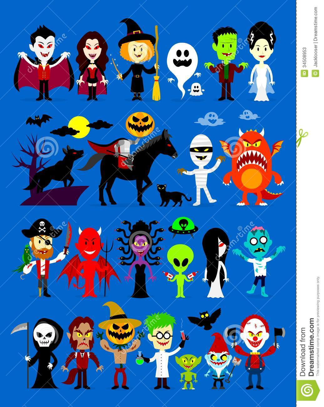 Monsters Mash Halloween Cartoon Characters including Vampires, Witch ...