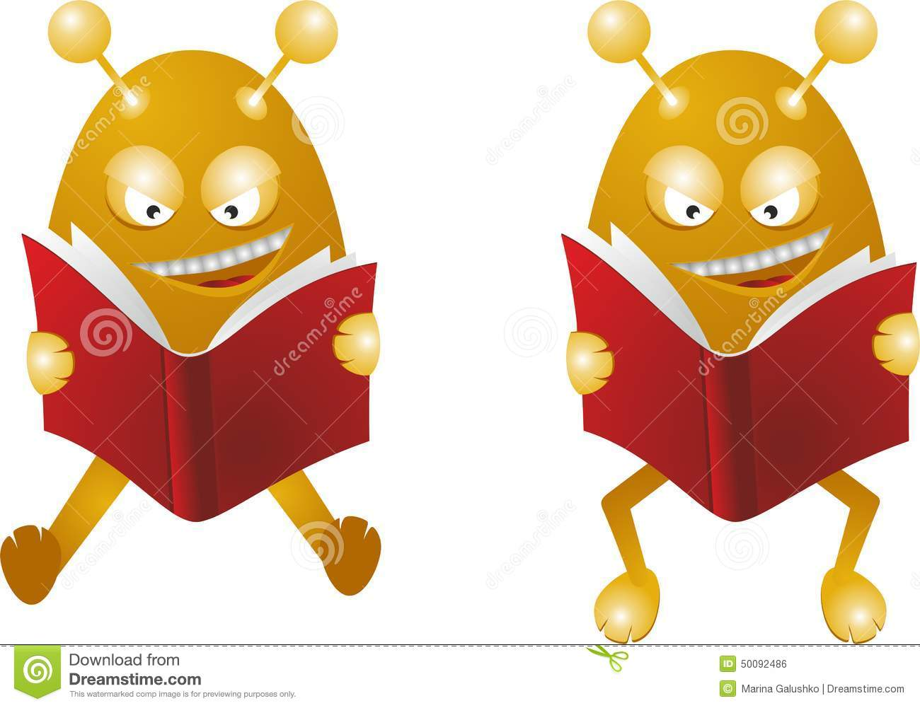 Monsters Read Books Stock Vector - Image: 50092486