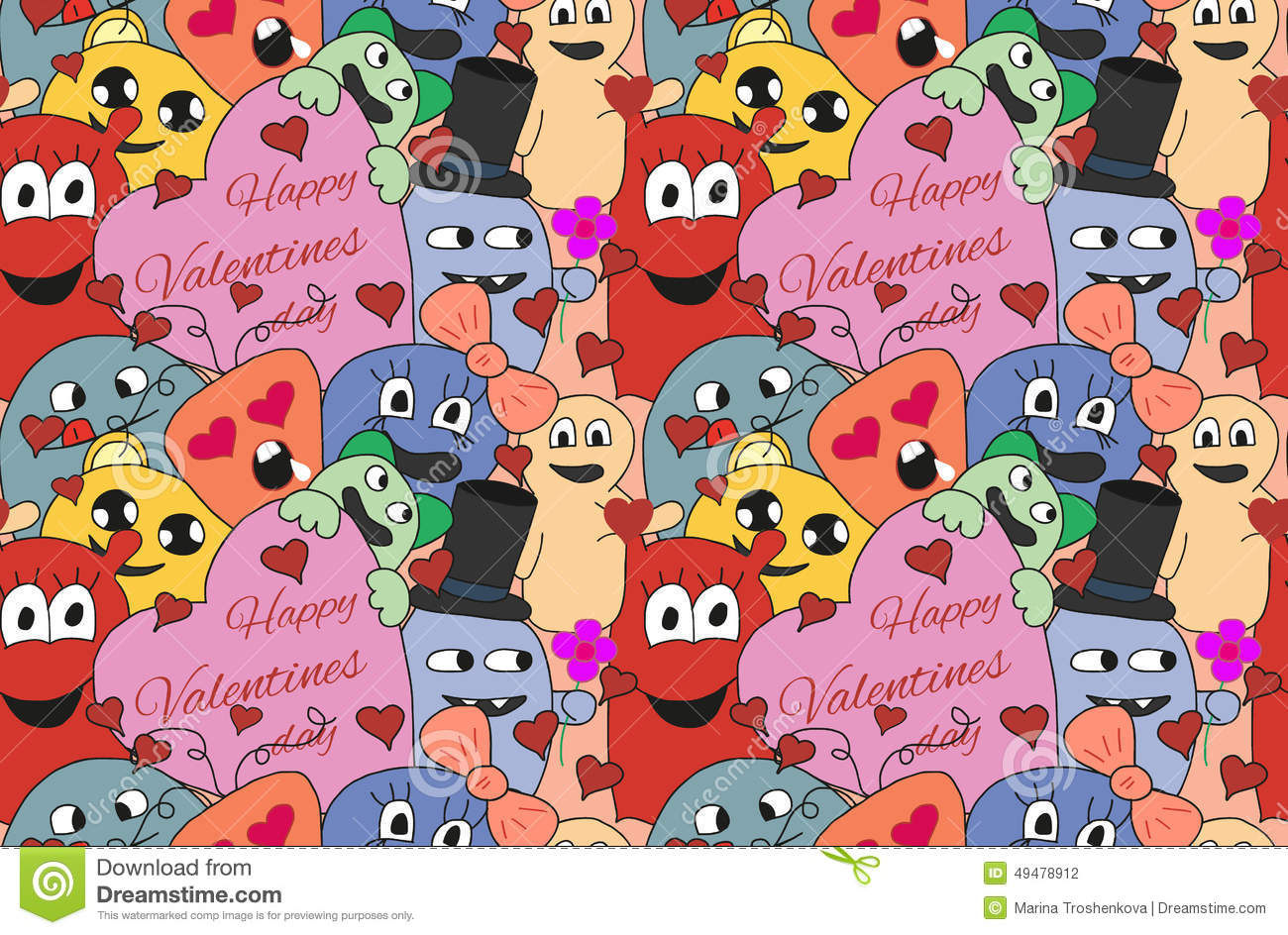 Monsters Valentine day. Seamless vector pattern