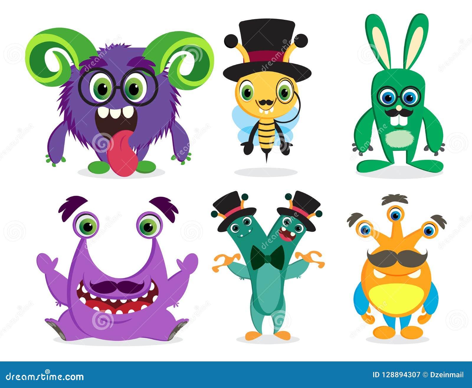 Monsters vectorset van tekens De leuke dieren van de beeldverhaalmascotte