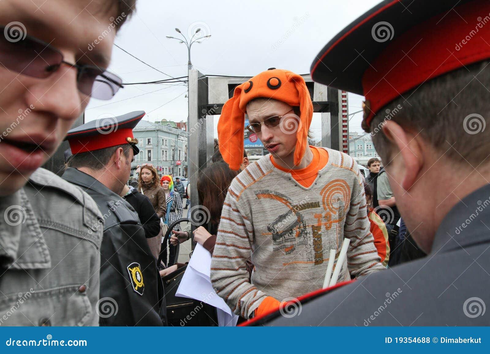 Monstration que marcha em Moscovo central.