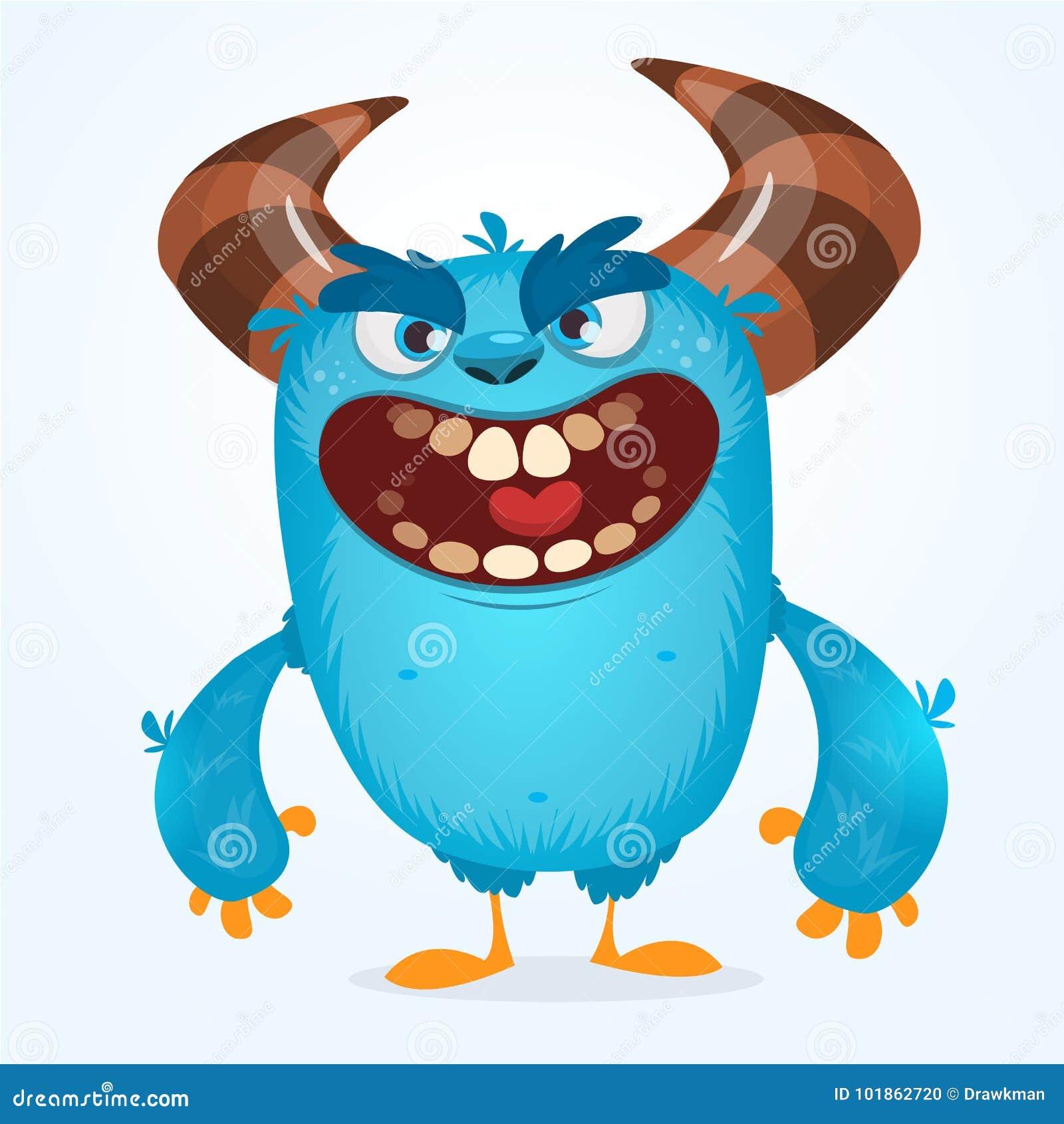 Monstre Bleu Velu Mignon Vecteur Bigfoot Ou Mascotte De
