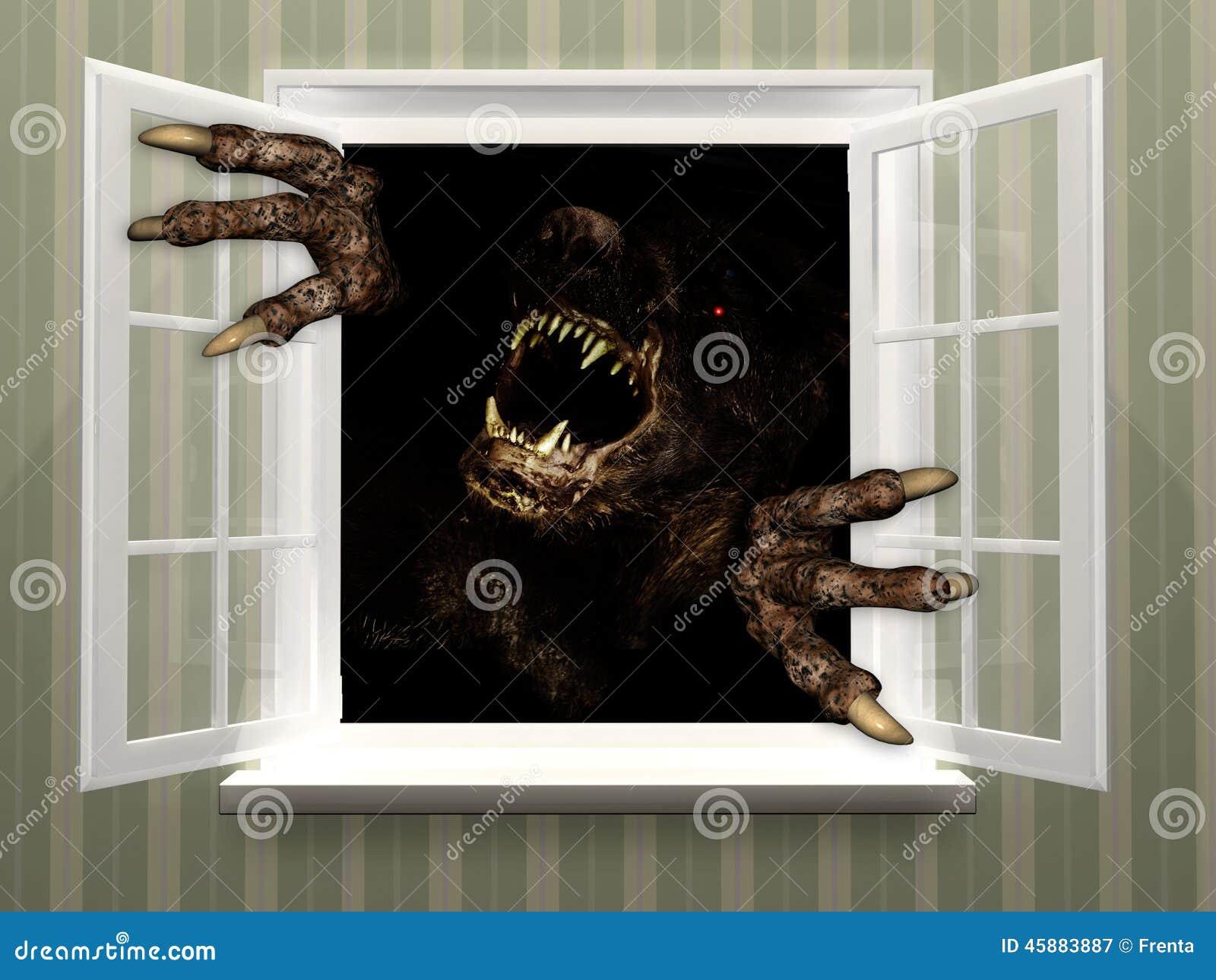Monstre dans la fen tre ouverte illustration stock image for La fenetre ouverte