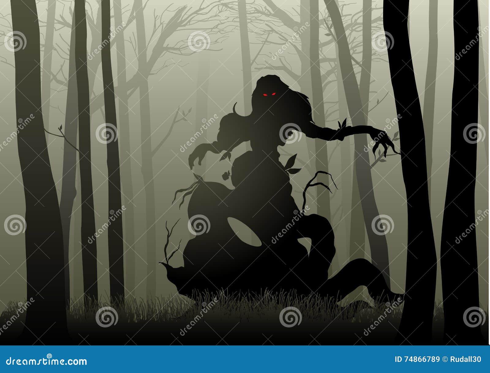 Monstre effrayant en bois foncés