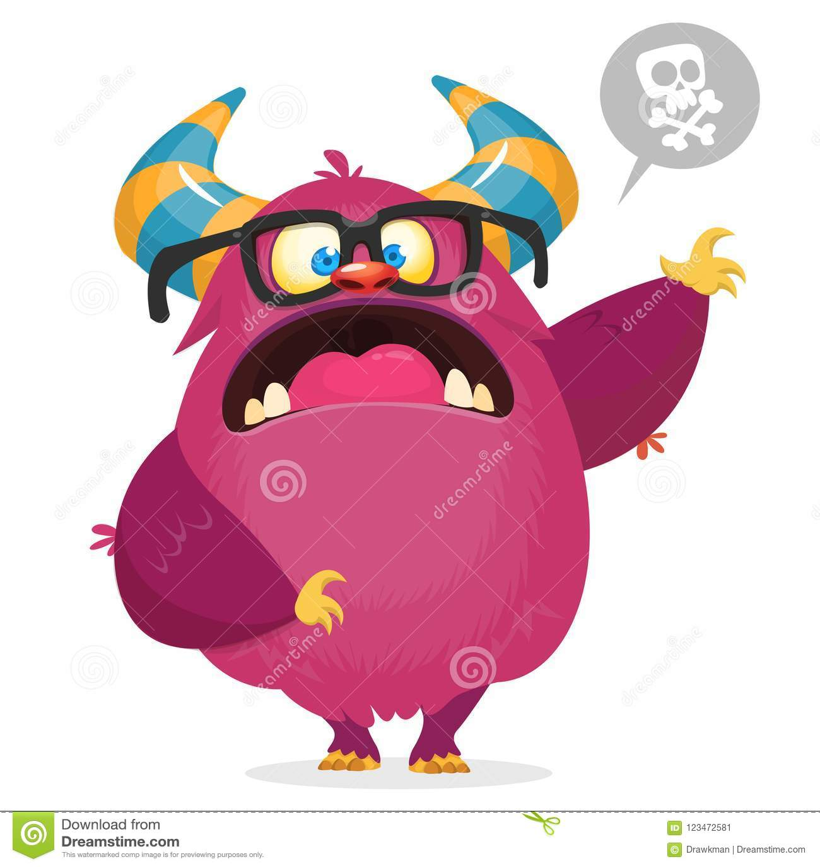 Monstre fâché de bande dessinée avec des klaxons Grande collection de monstres mignons Caractère de Halloween