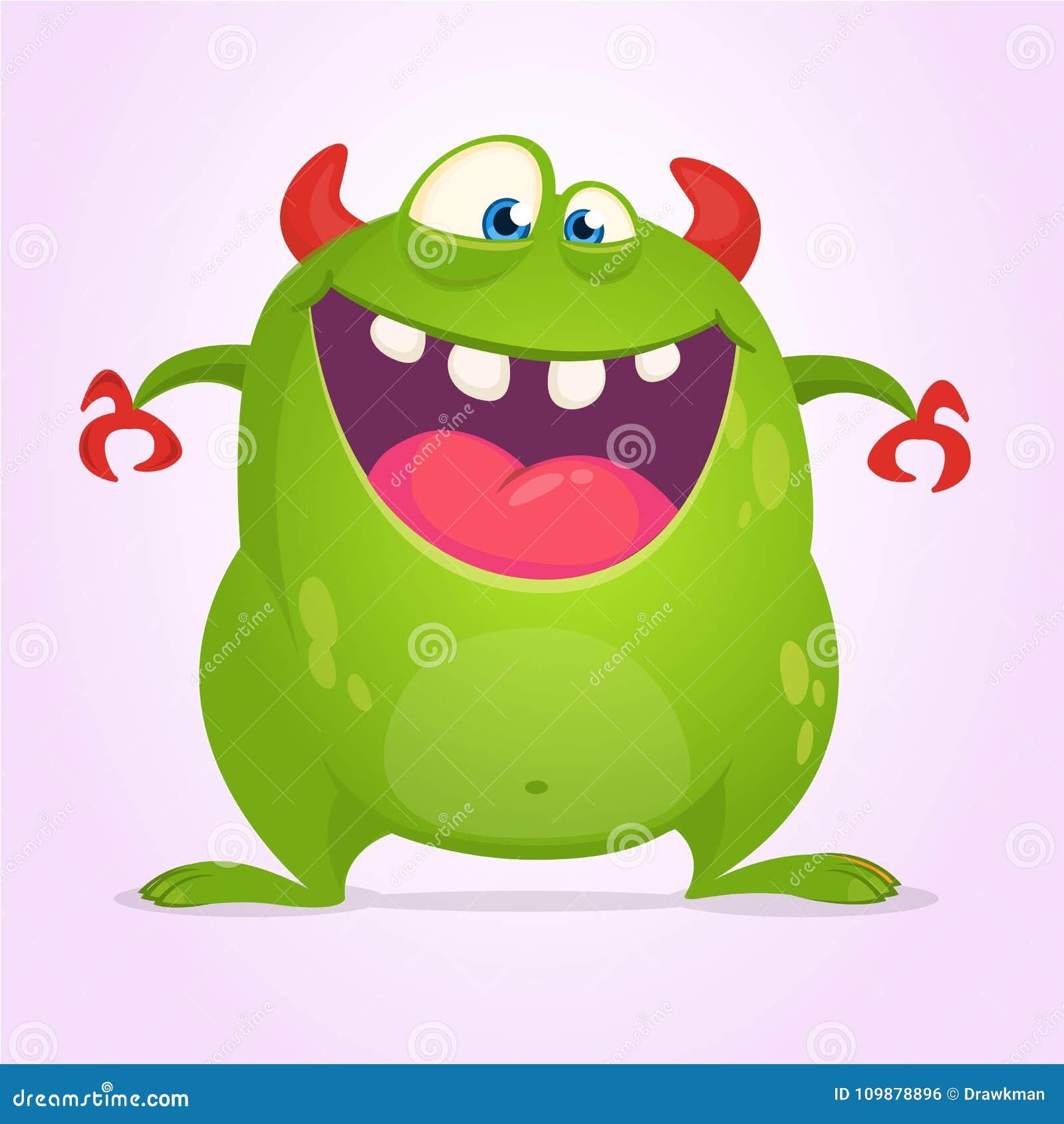 Monstre fâché de vert de bande dessinée Illustration de vecteur de caractère de monstre pour Halloween
