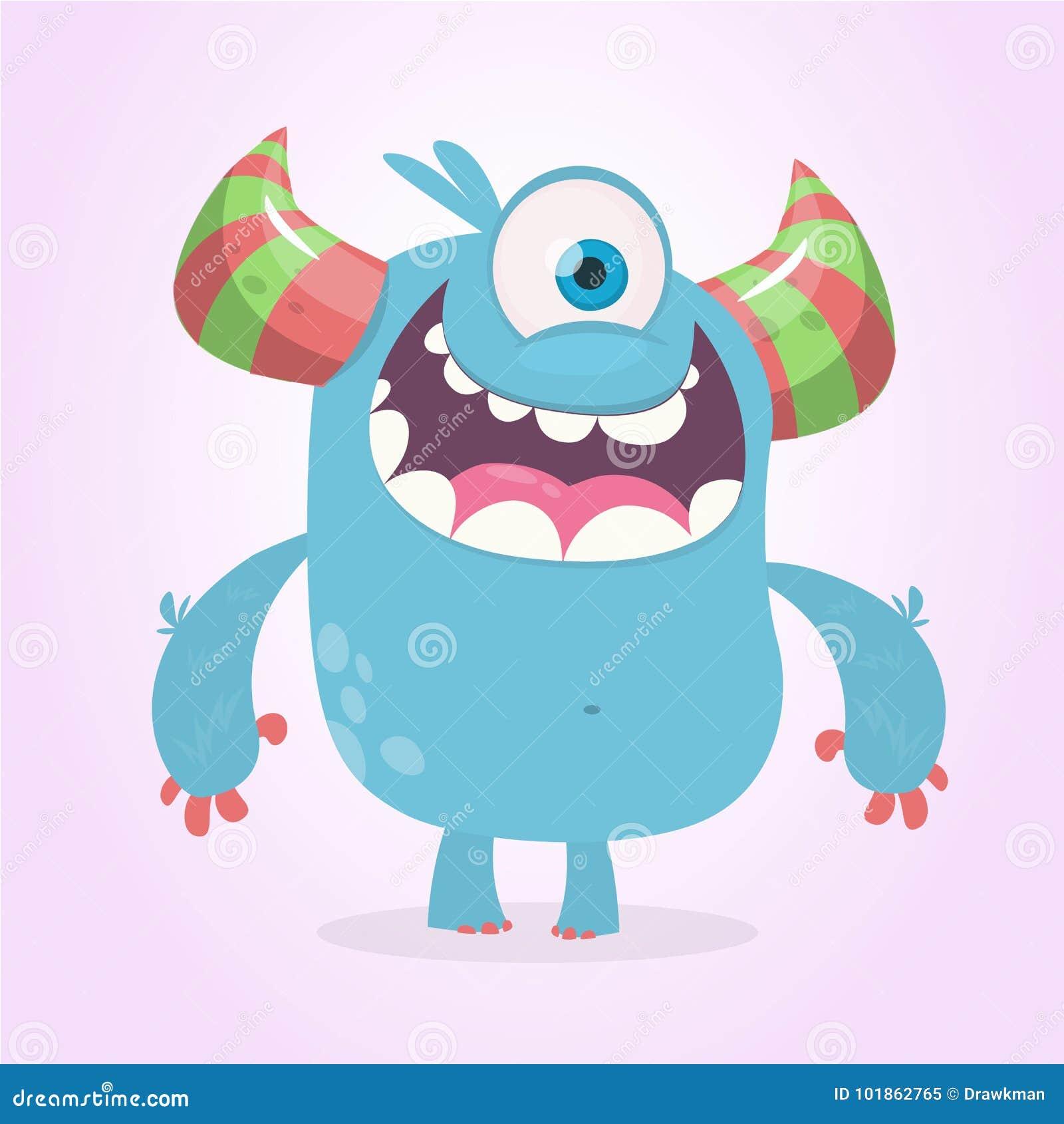 Monstre mignon de bande dessinée avec des klaxons avec un oeil Émotion de sourire de monstre avec la grande bouche Illustration d