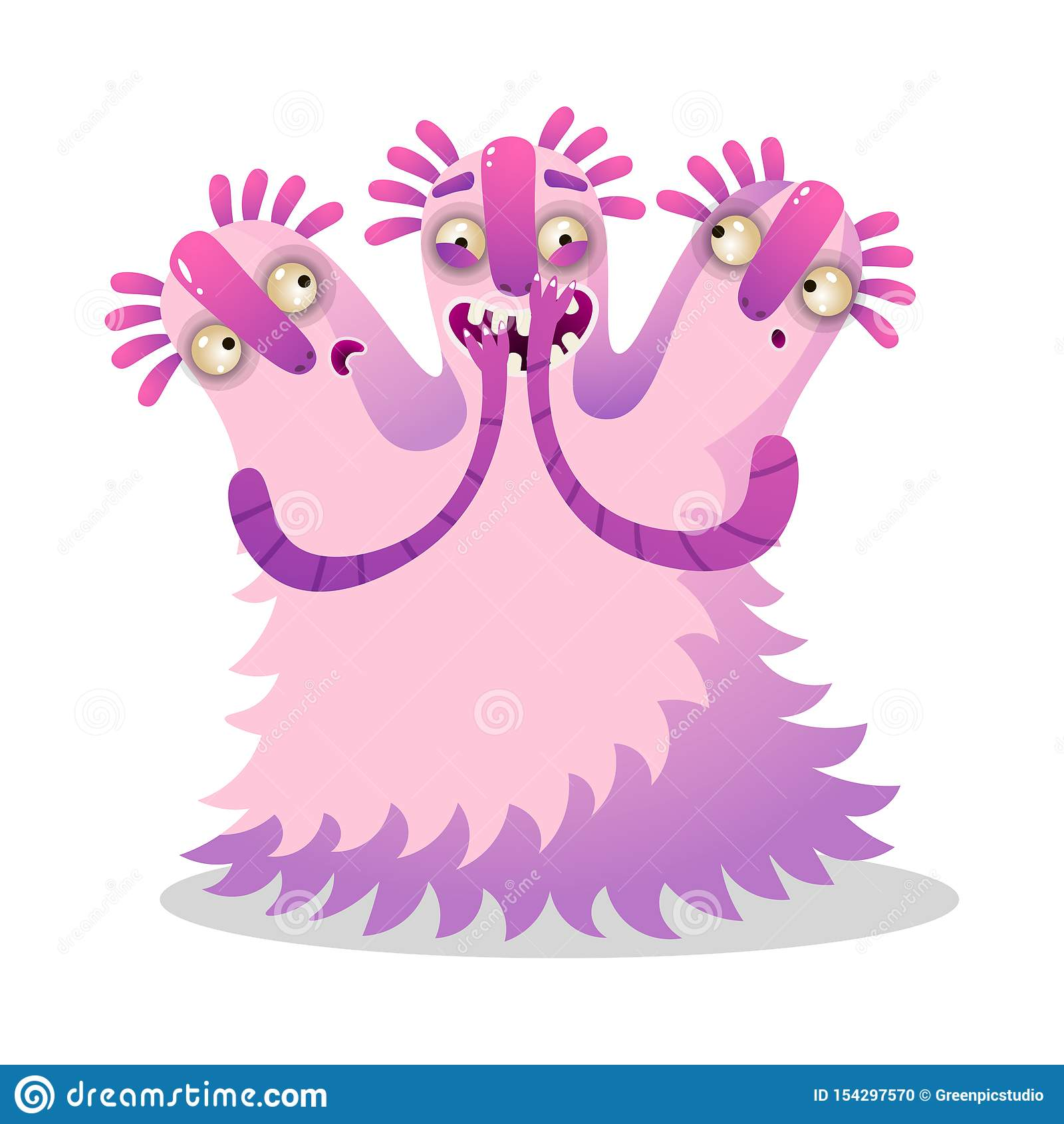 Monstre rose coloré drôle mignon avec trois têtes