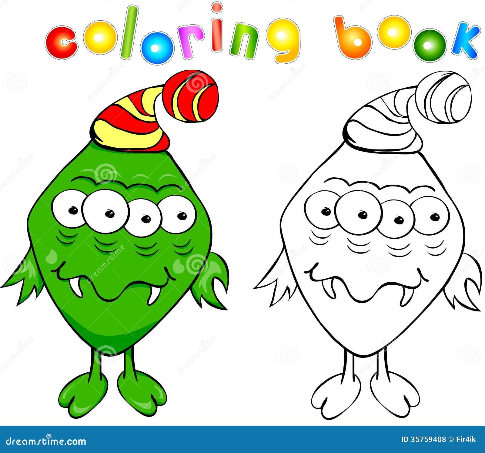 Monstre vert de livre de coloriage illustration de vecteur - Coloriage monstre ...
