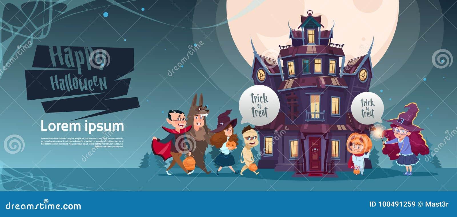 Monstres mignons heureux de Halloween marchant au château gothique avec le concept de carte de voeux de vacances de fantômes