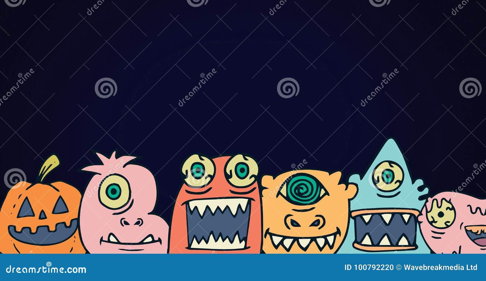 Monstret halloween heads illustrationer i rad