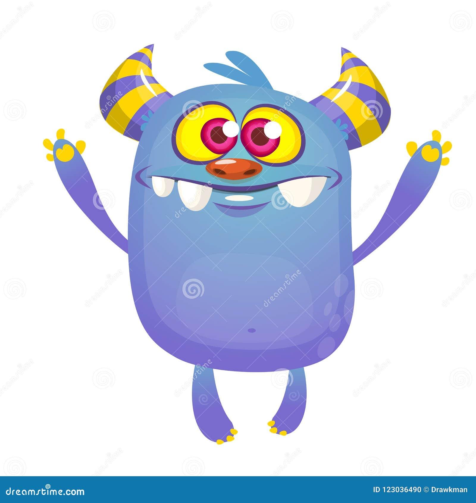 Monstro Azul Dos Desenhos Animados Com Chifres Colecao Grande De Monstro Bonitos Ilustracao Do Vetor Ilustracao De Azul Desenhos 123036490