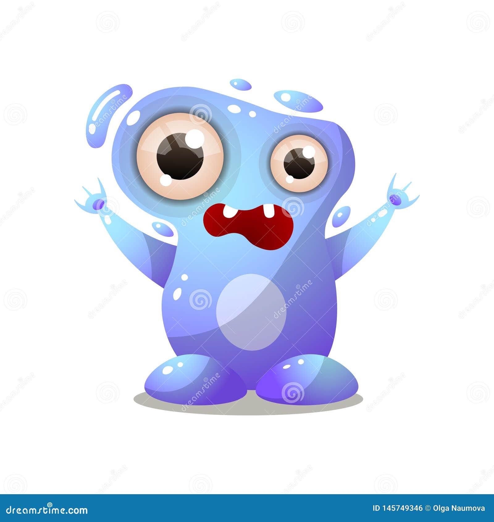 Monstro bonito da água azul com olhos grandes, mãos acima