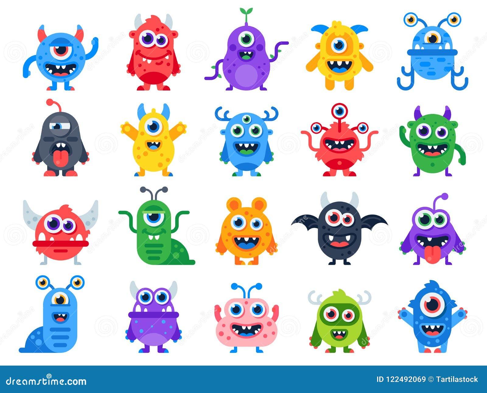 Monstro bonitos dos desenhos animados Caráteres alegres cômicos do monstro do Dia das Bruxas Diabo engraçado, estrangeiro feio e