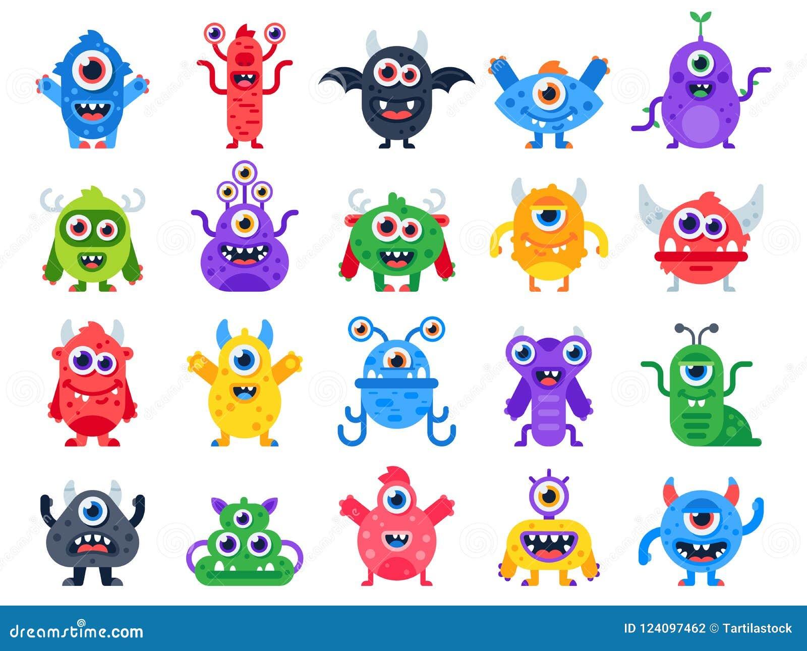 Monstro dos desenhos animados Monstro felizes bonitos, mascote do Dia das Bruxas e brinquedos engraçados do mutante Grupo liso do