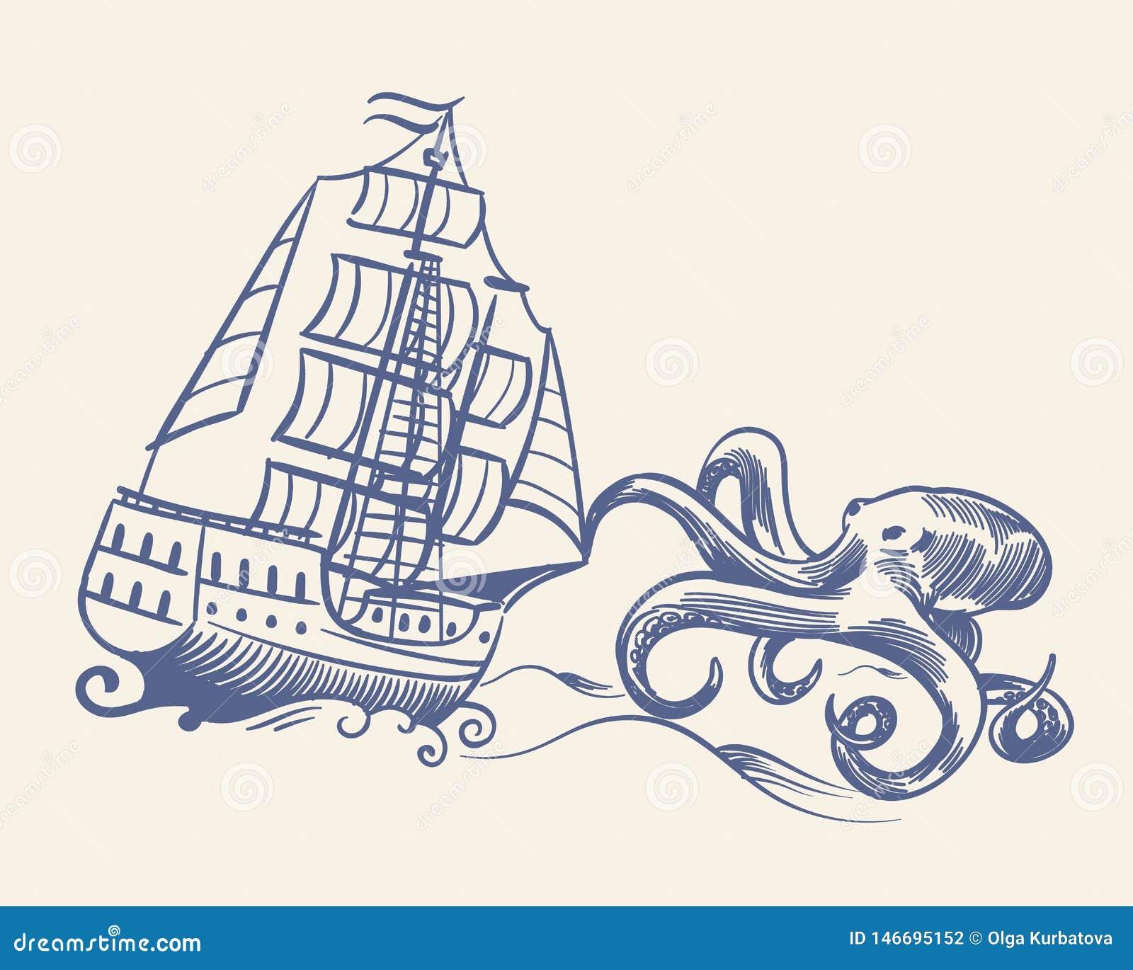 Monstruo del pulpo El barco pirata medieval del vintage del velero del bosquejo funcionado con lejos de kraken y el vector náutic