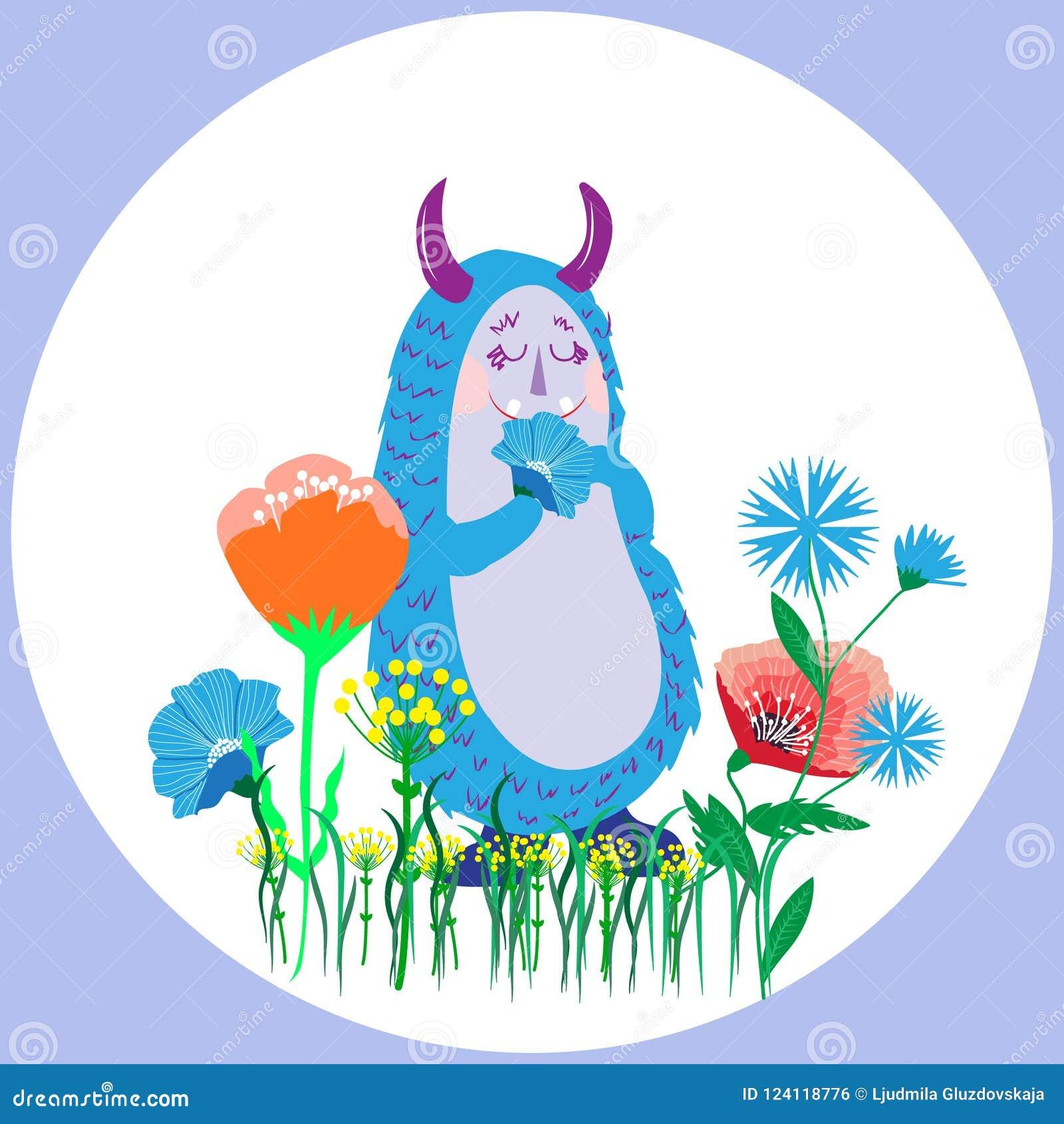 Monstruo divertido peludo lanudo lindo con la flor en la pata, carto del garabato