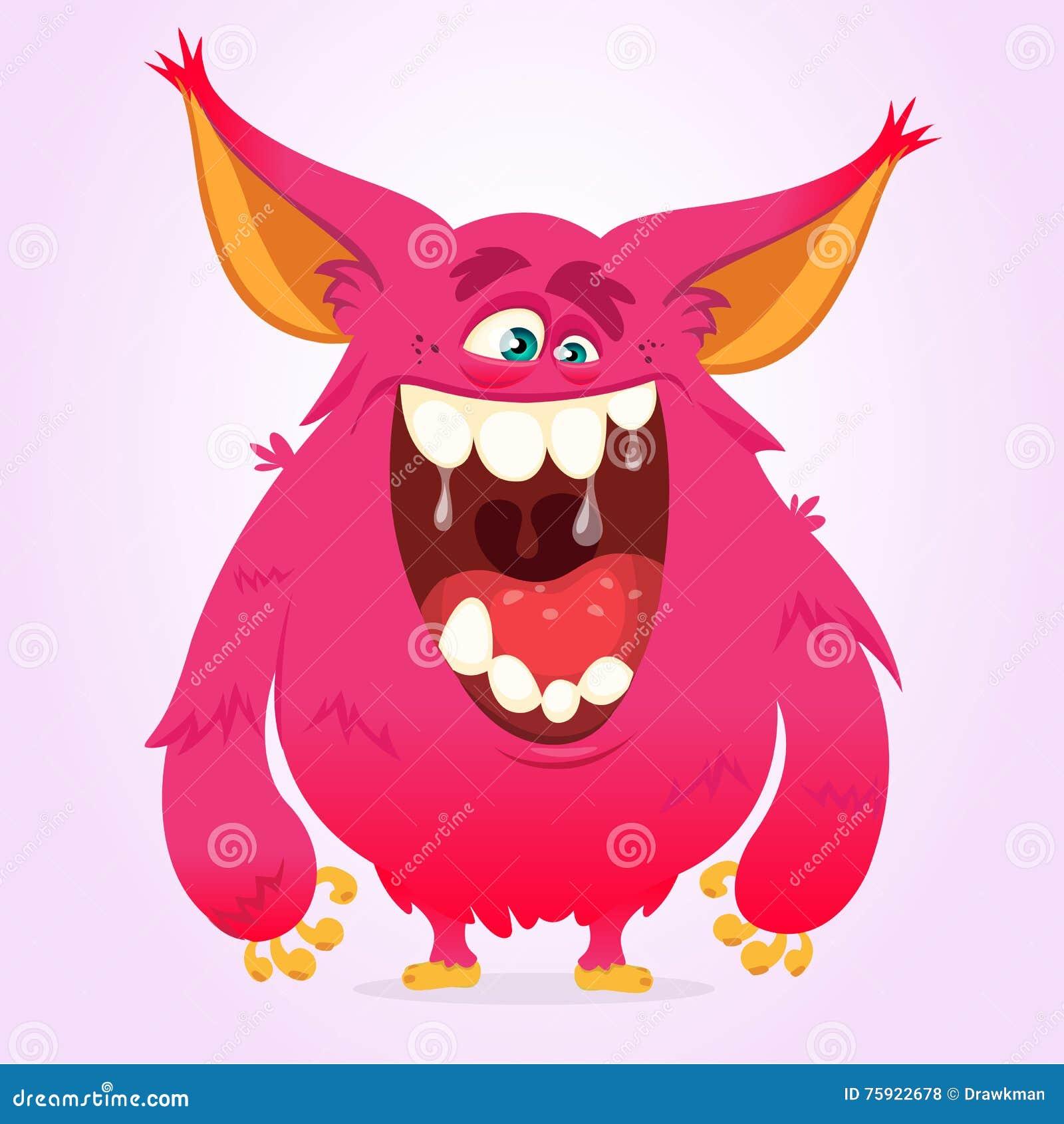 Monstruo feliz de la historieta Monstruo peludo rosado de Halloween del vector