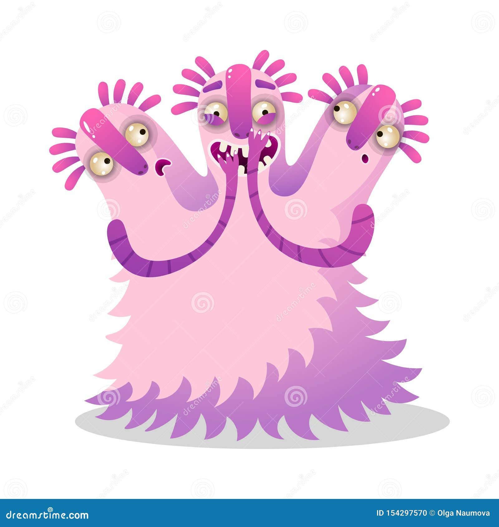 Monstruo rosado colorido divertido lindo con tres cabezas