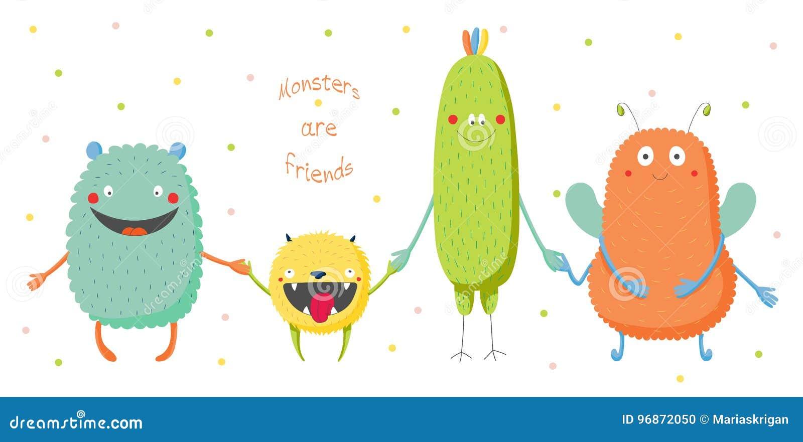El ejemplo dibujado mano del vector de los monstruos coloridos divertidos  lindos que sonríen y que llevan a cabo las manos 061df8f0814ae