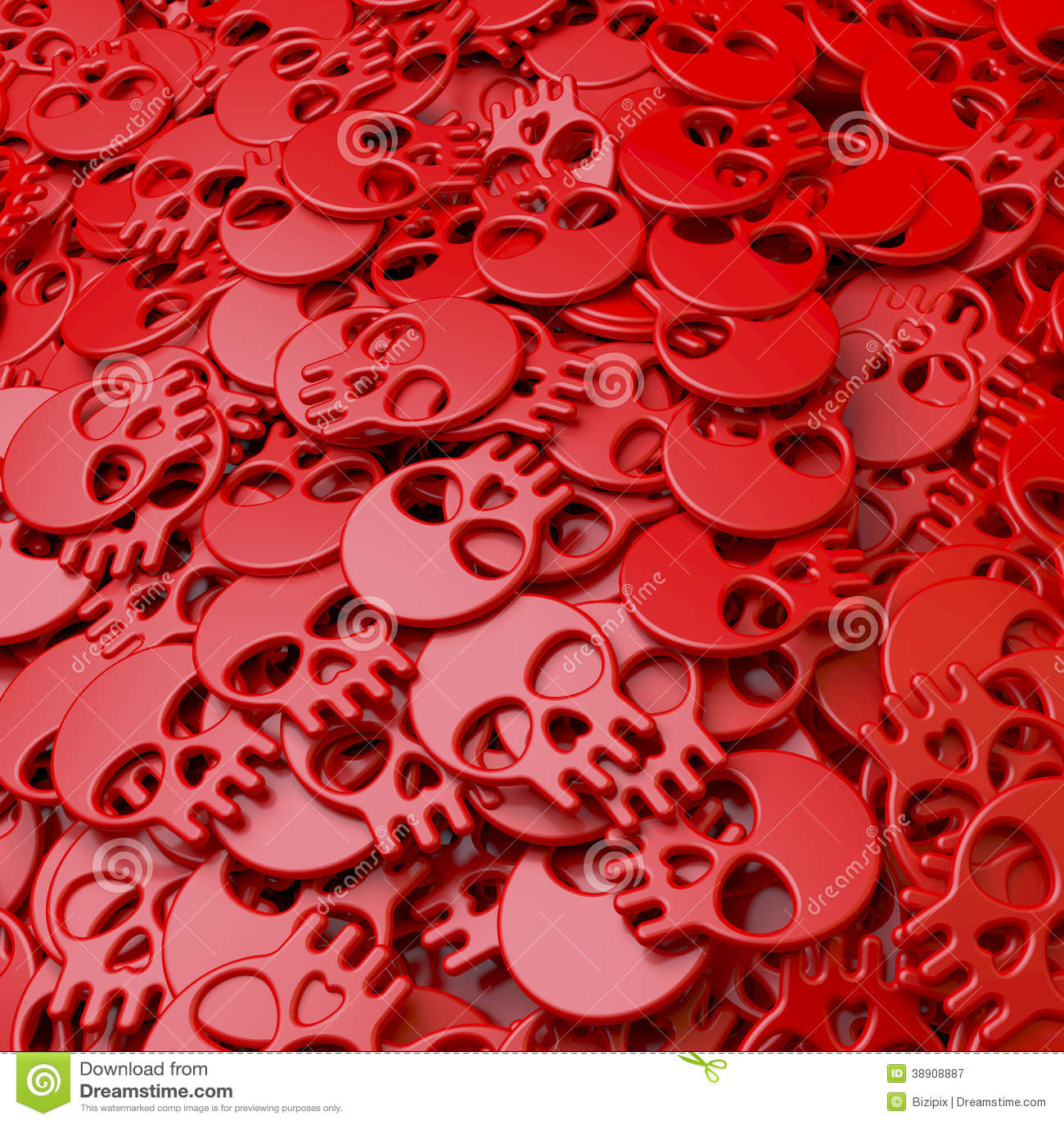 Montón, piscina, racimo de cráneos rojos