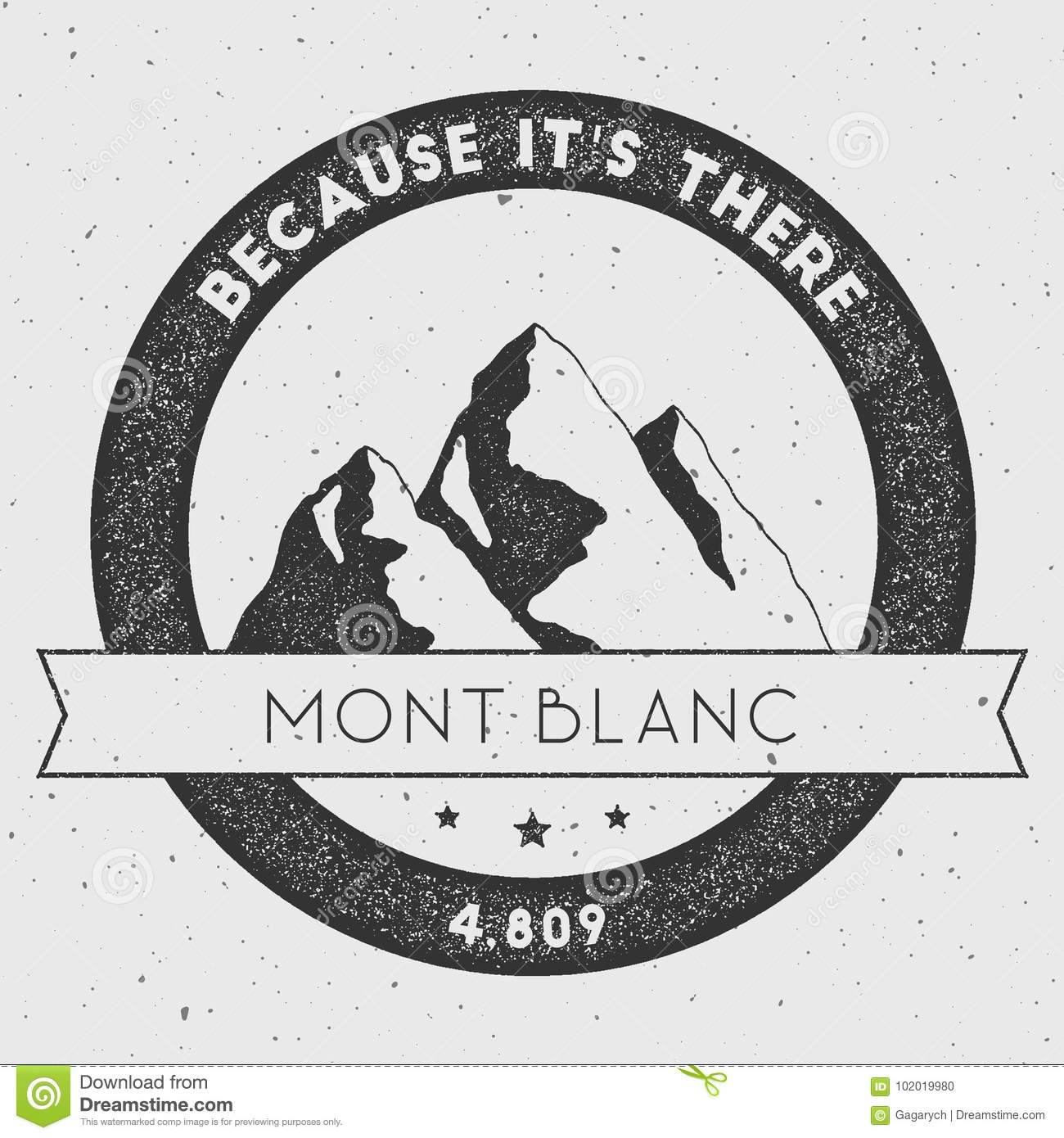 Mont Blanc In Alps Italy Outdoor Adventure Logo Stock Vector