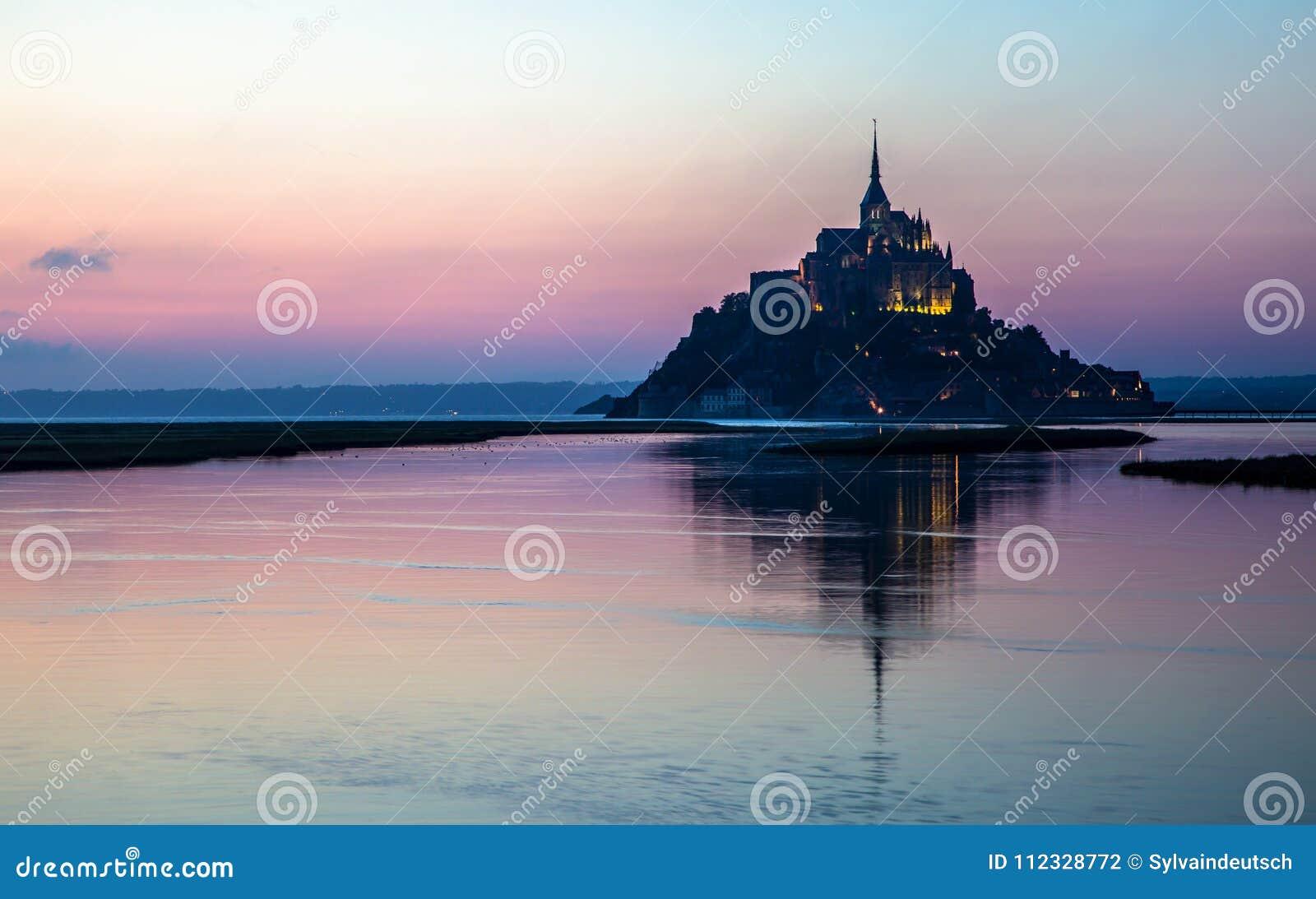 Mont Saint Michel at dusk, France.