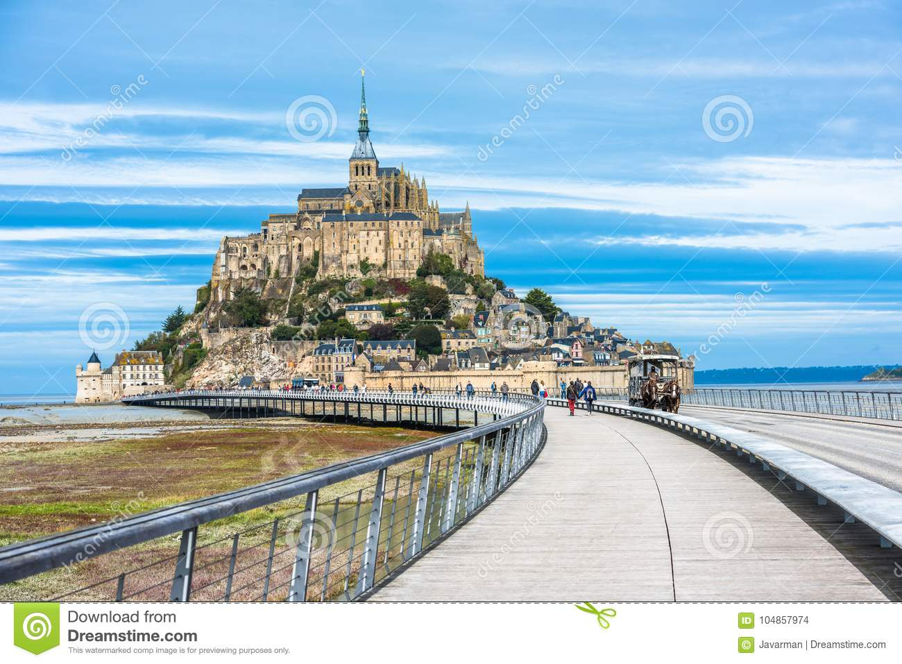 Mont-Saint-Michel, an island with the famous abbey, Normandy, Fr