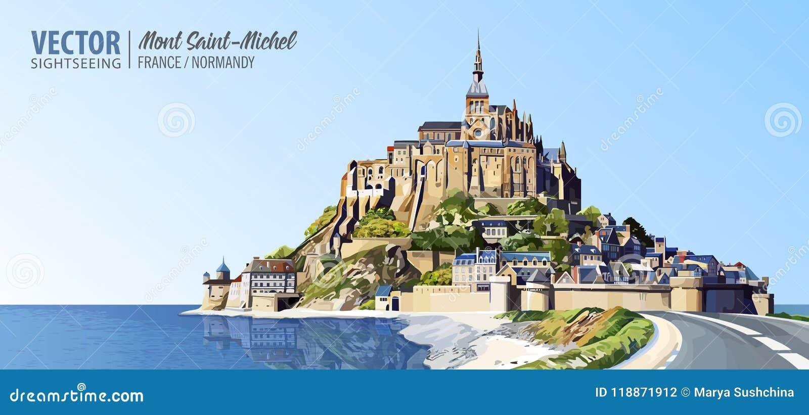 Mont saint michel katedra na wyspie opactwo Normandy, Północny Francja, Europa Krajobraz piękny panoramiczny widok Wektor ja
