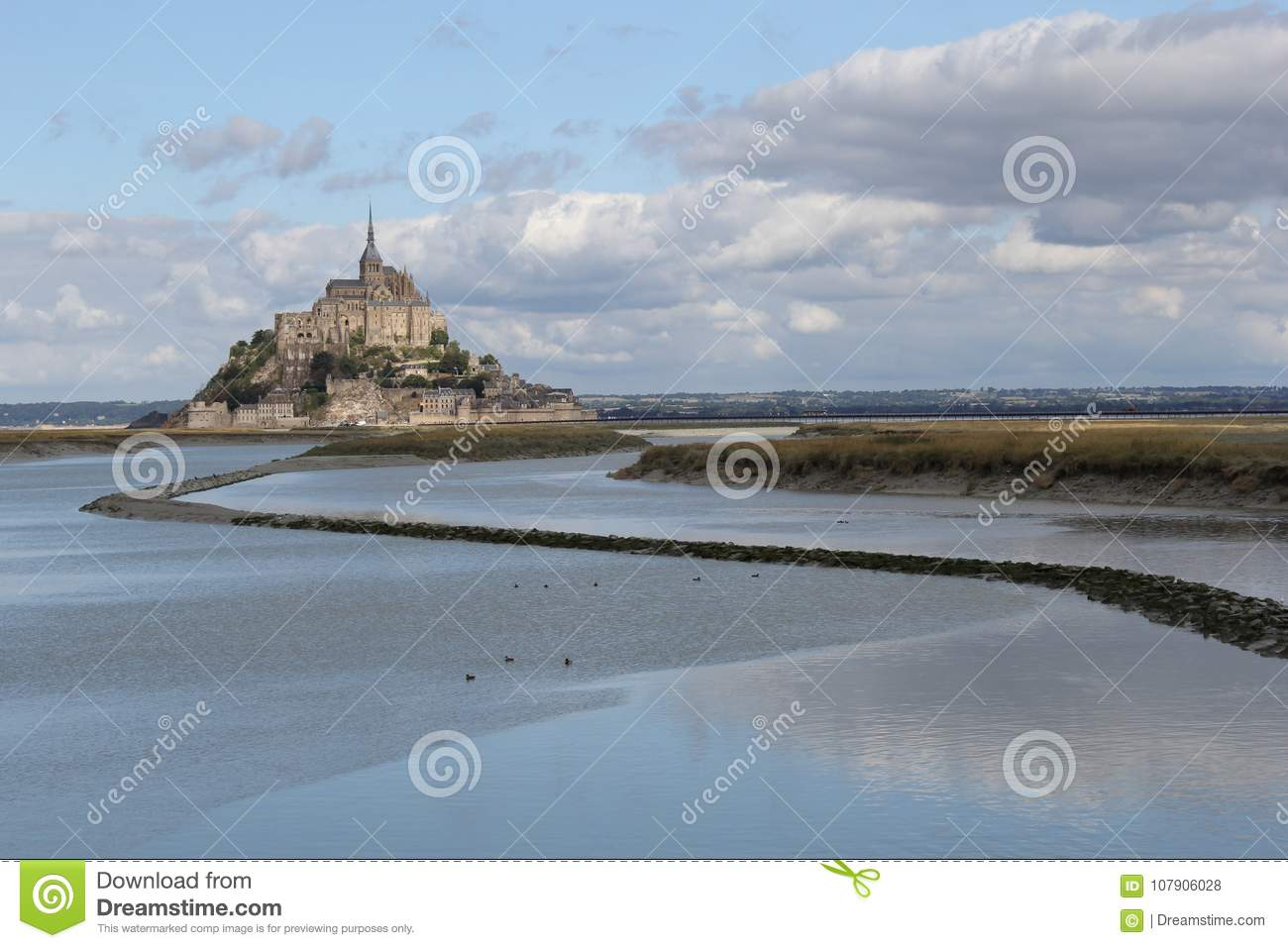 The Mont Saint-michel In Normandy In France With High Tide