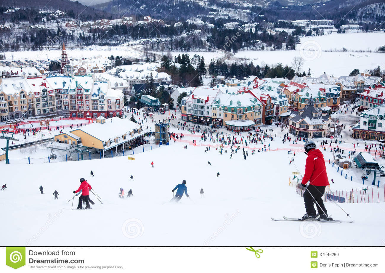 mont-tremblant ski resort, quebec, canada editorial image - image of