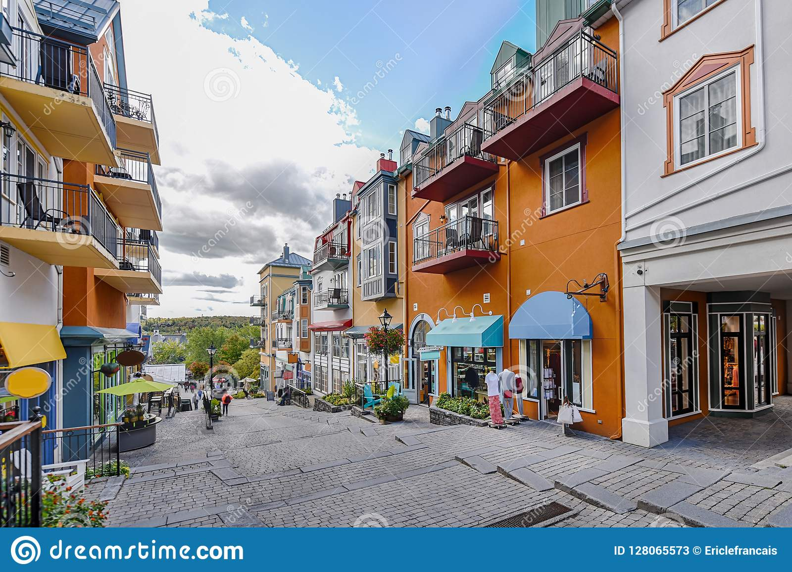 Mont-Tremblant village main shopping street right