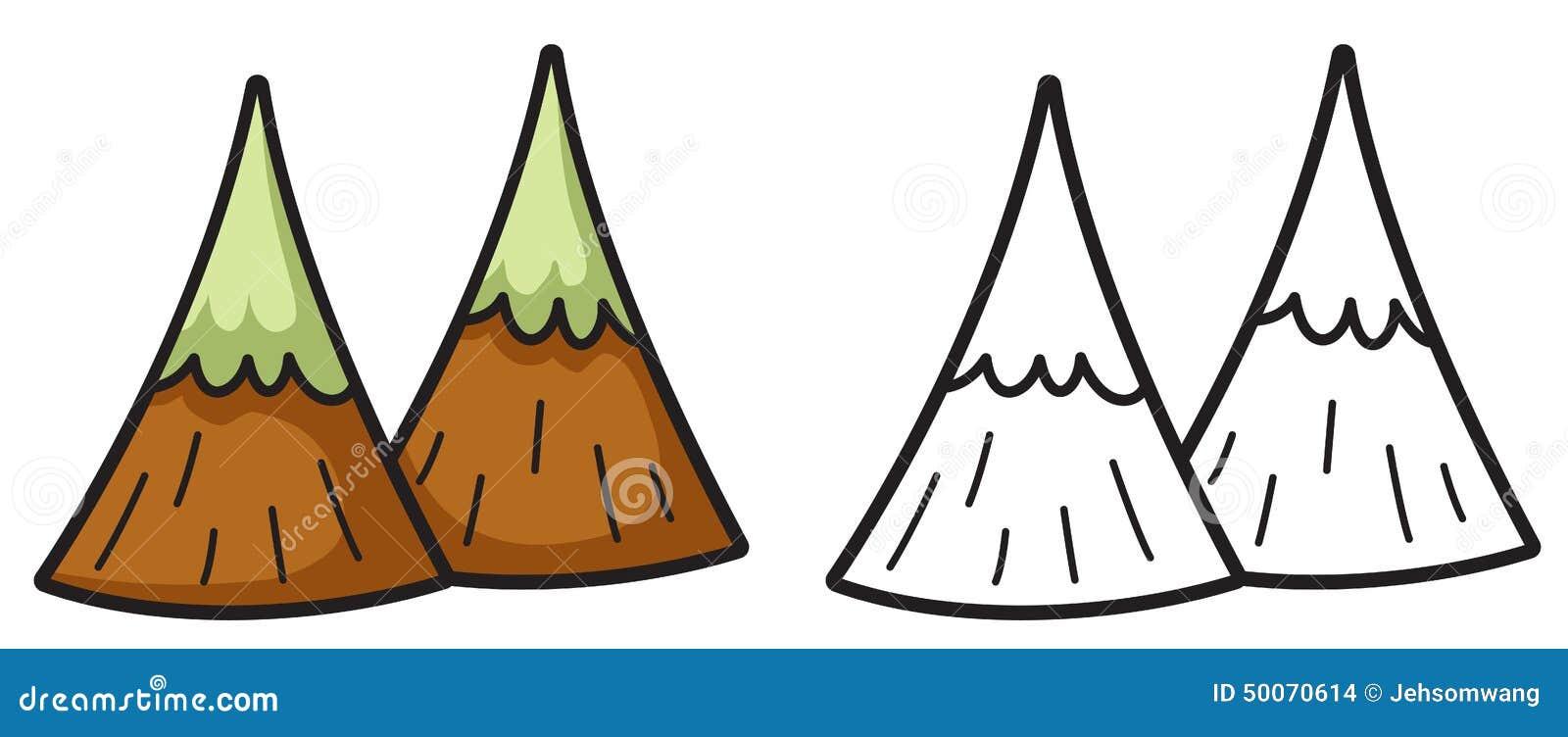 Montaña Colorida Y Blanco Y Negro Para El Libro De Colorear
