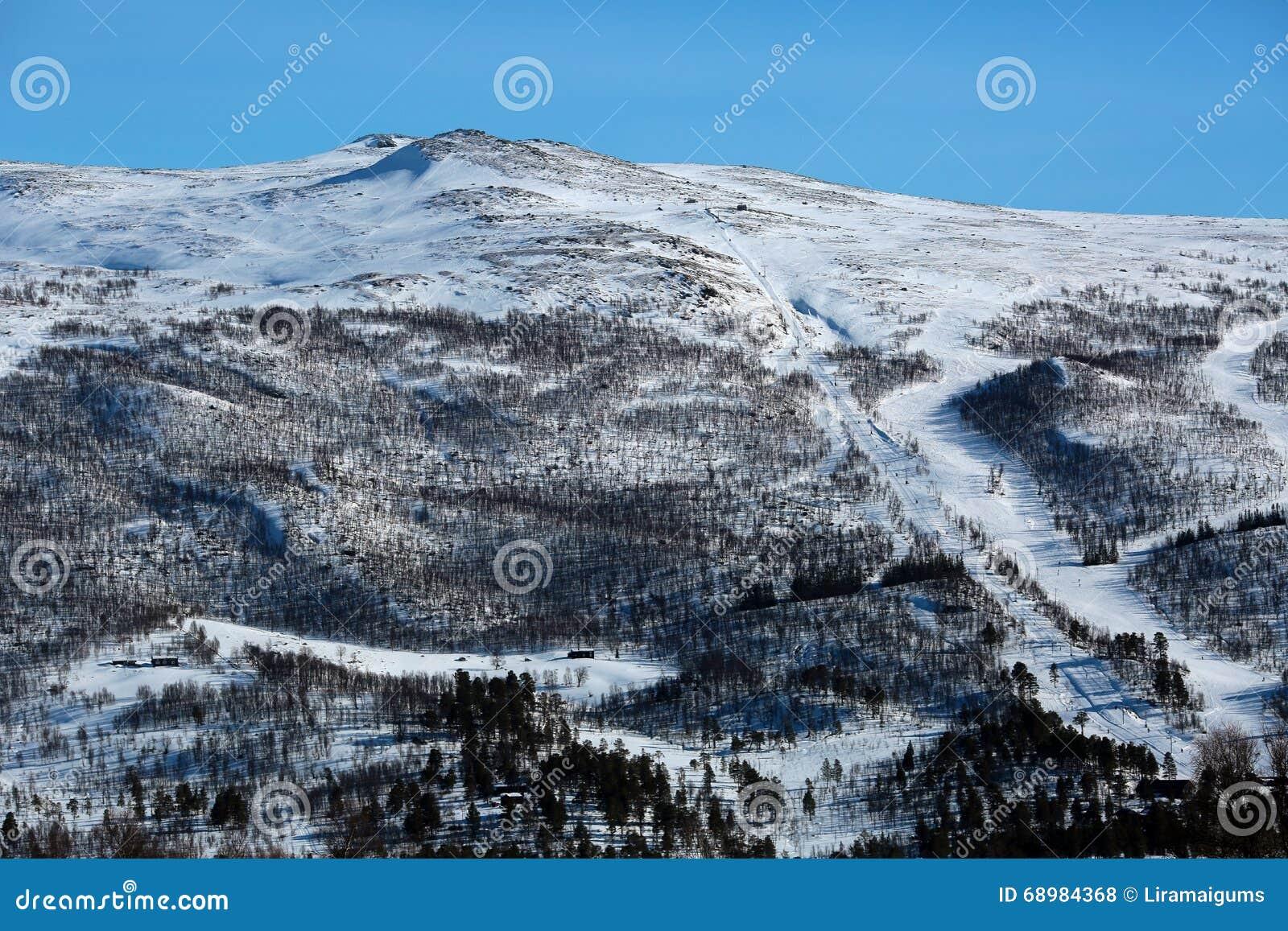Montaña con la pista del esquí, la elevación y las cabinas en declive de la madera