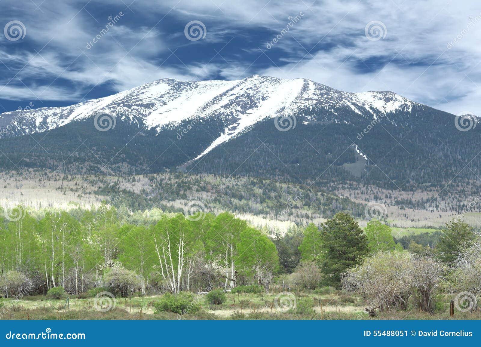 Montaña coronada de nieve