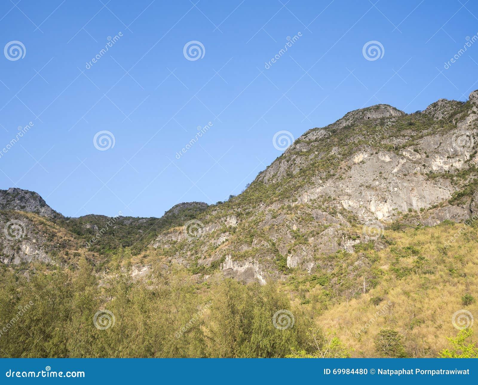 Montaña debajo del cielo azul 9