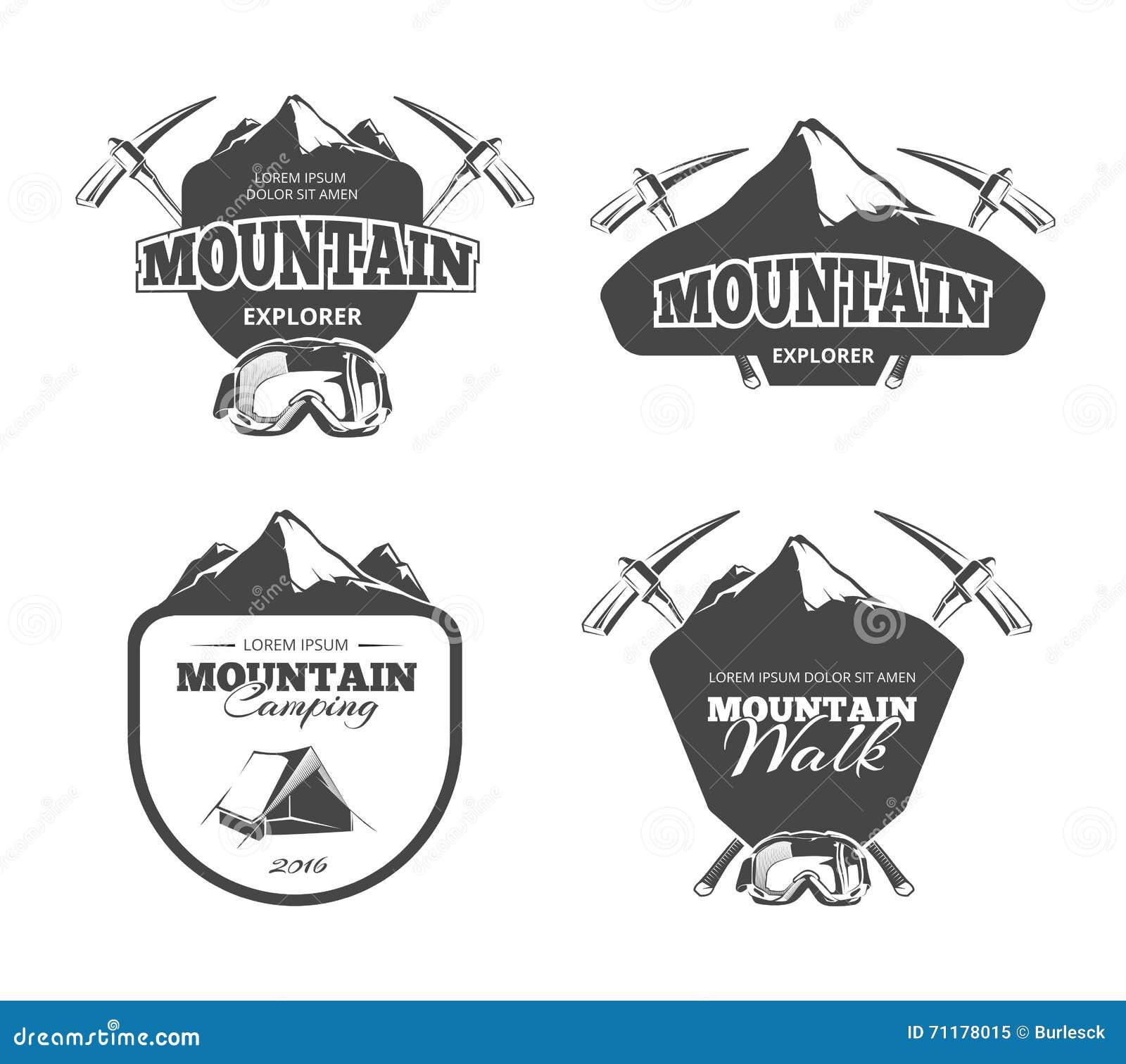 Montaña que acampa, emblemas del vector del alpinismo, etiquetas, insignias, logotipos del vintage fijados