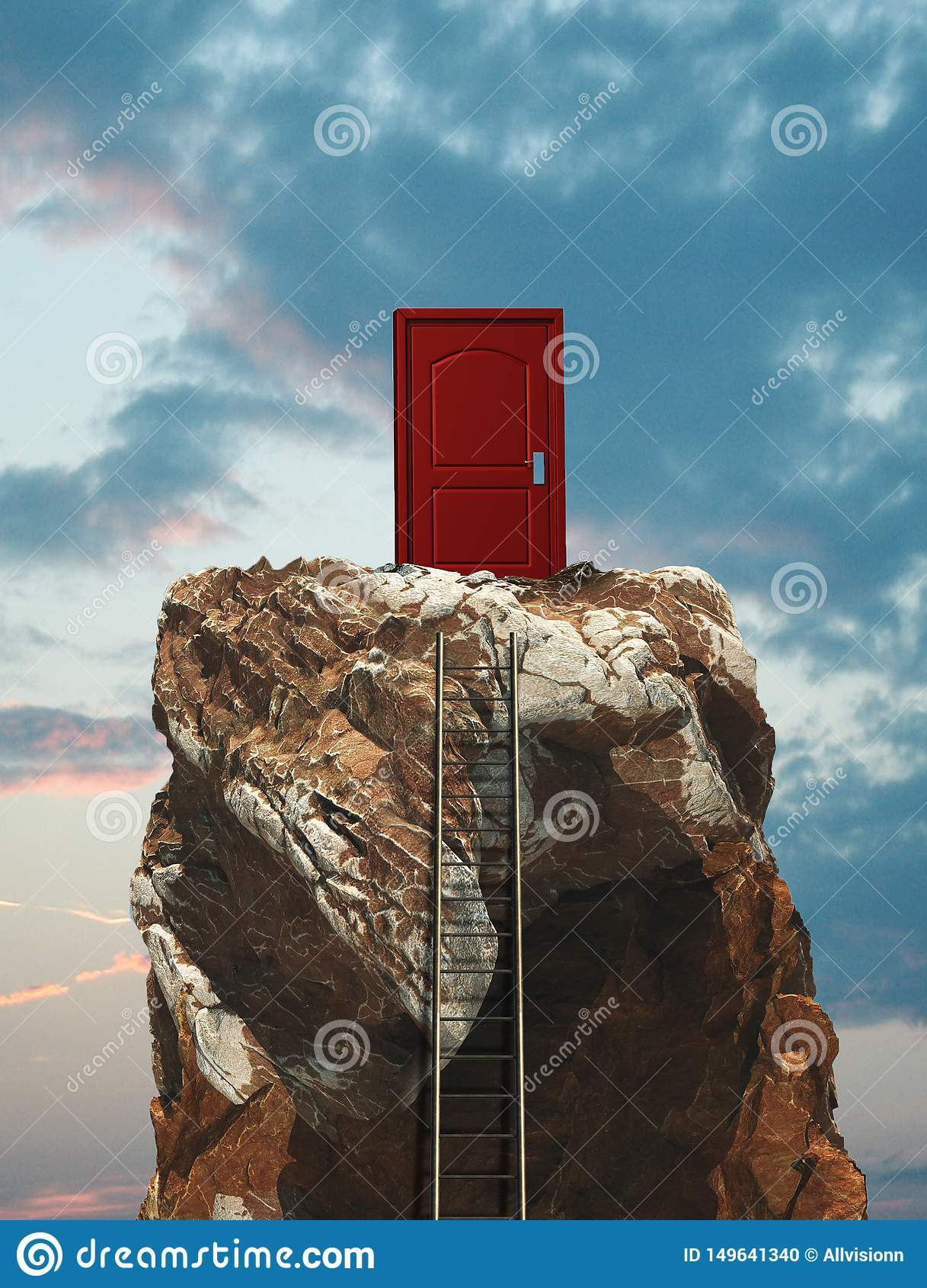 Montaña roja del top de la puerta